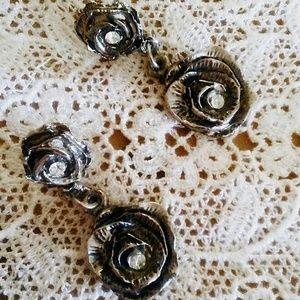 Vintage Rose Tiered Earrings